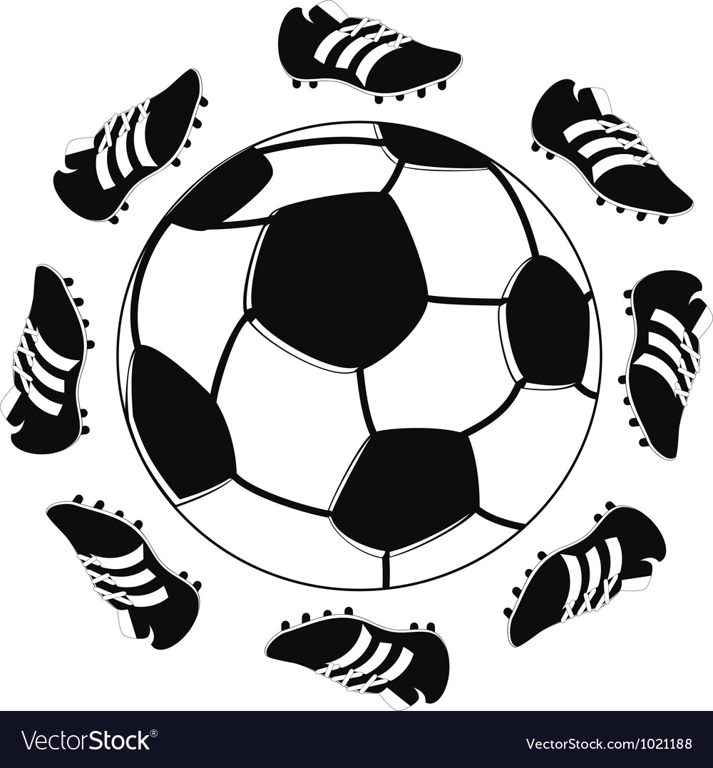 Shoes around the football vector image