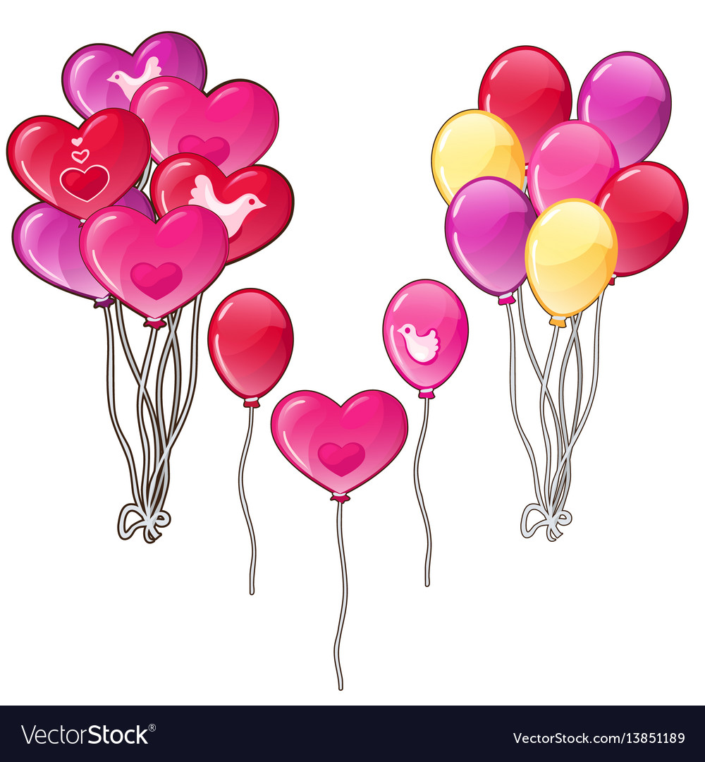 Balloons bouquets classic shapes and a heart vector image