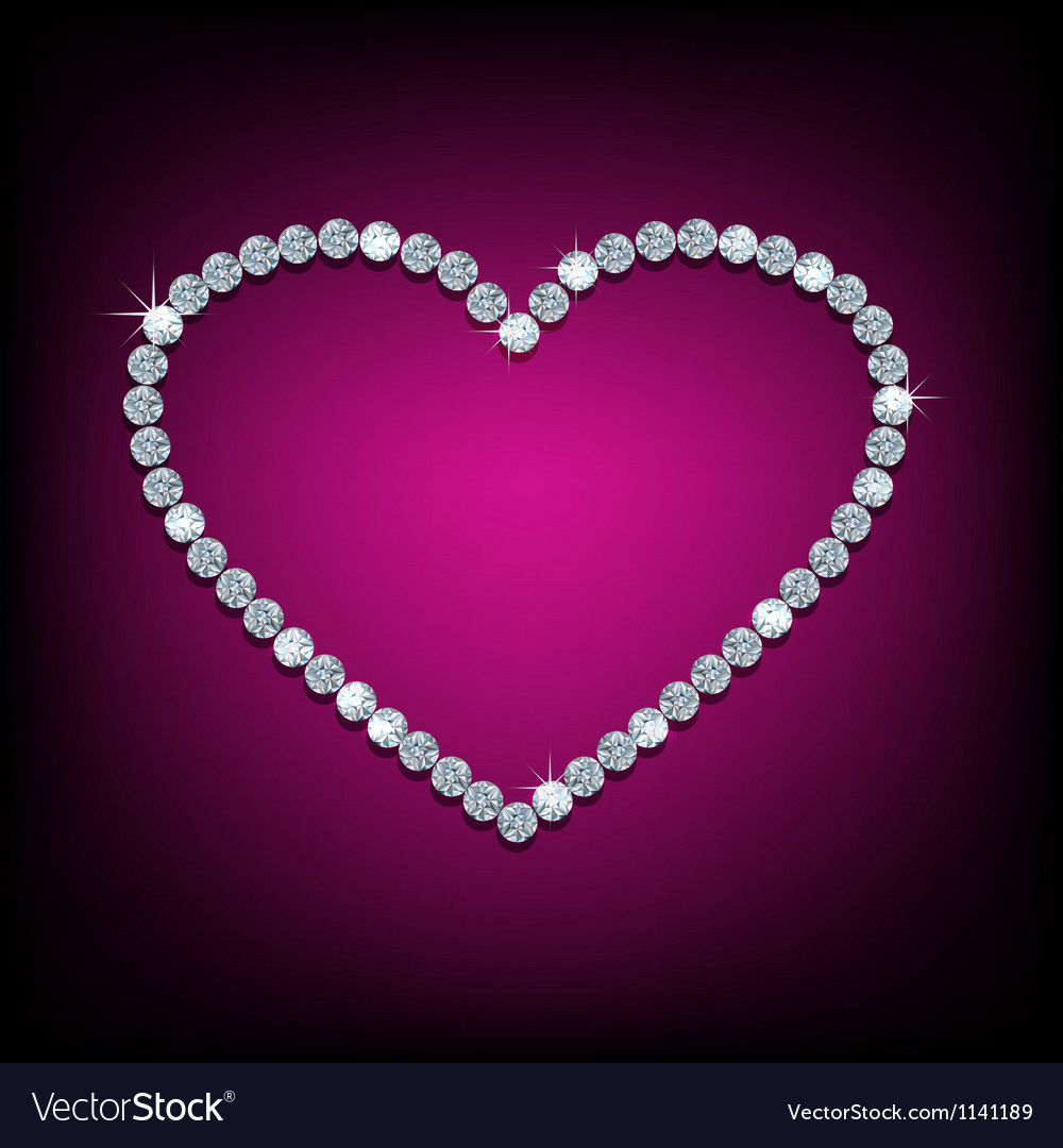 Diamond in shape of heart vector image