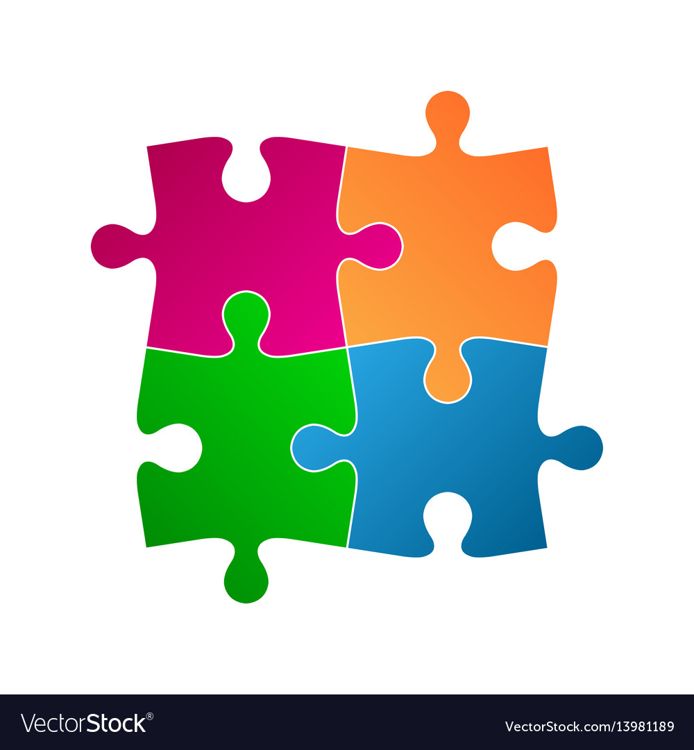 Four colored puzzle pieces abstract symbol icon vector image