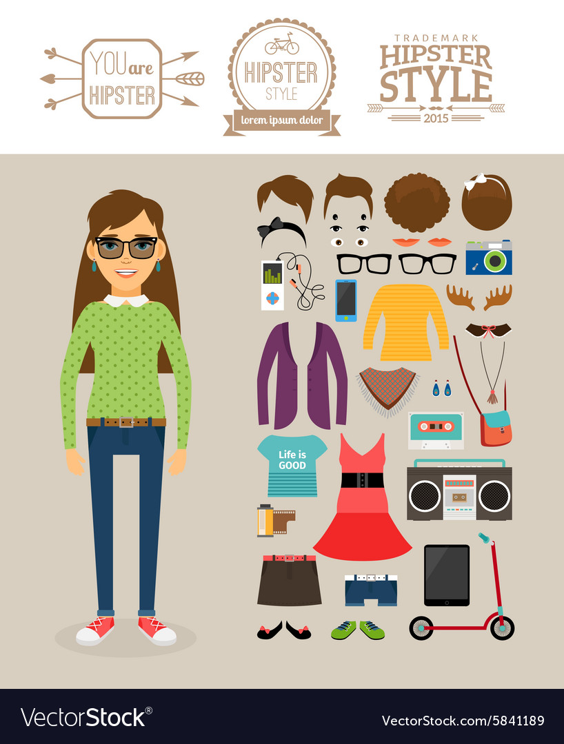 Hipster girl elements Clothes hairstyles and vector image