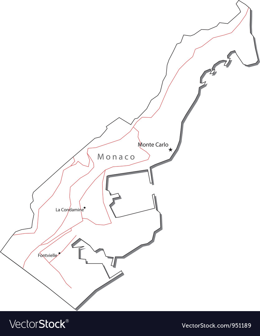 Monaco Black White Map vector image