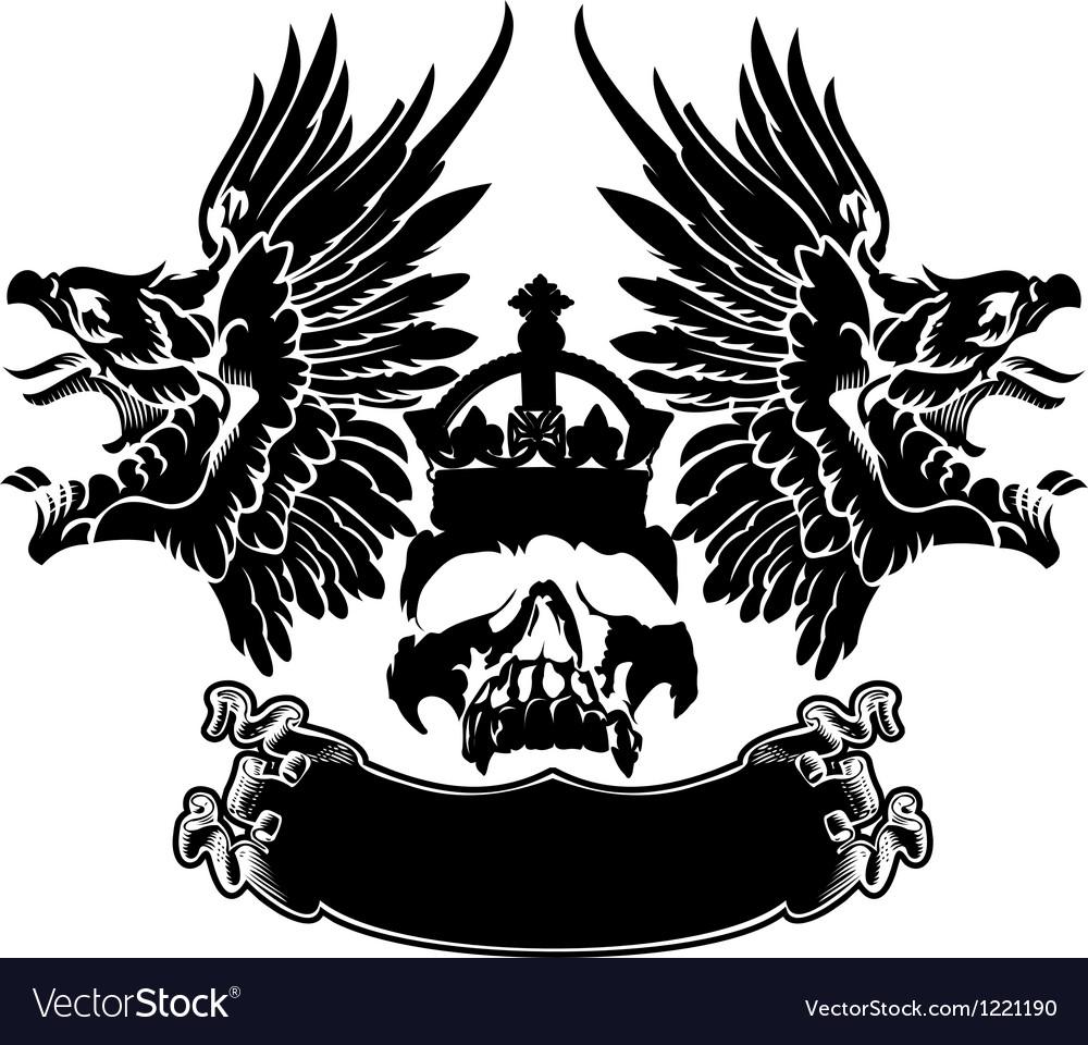 One Color Eagle Wings Skull Symbol Emblem vector image