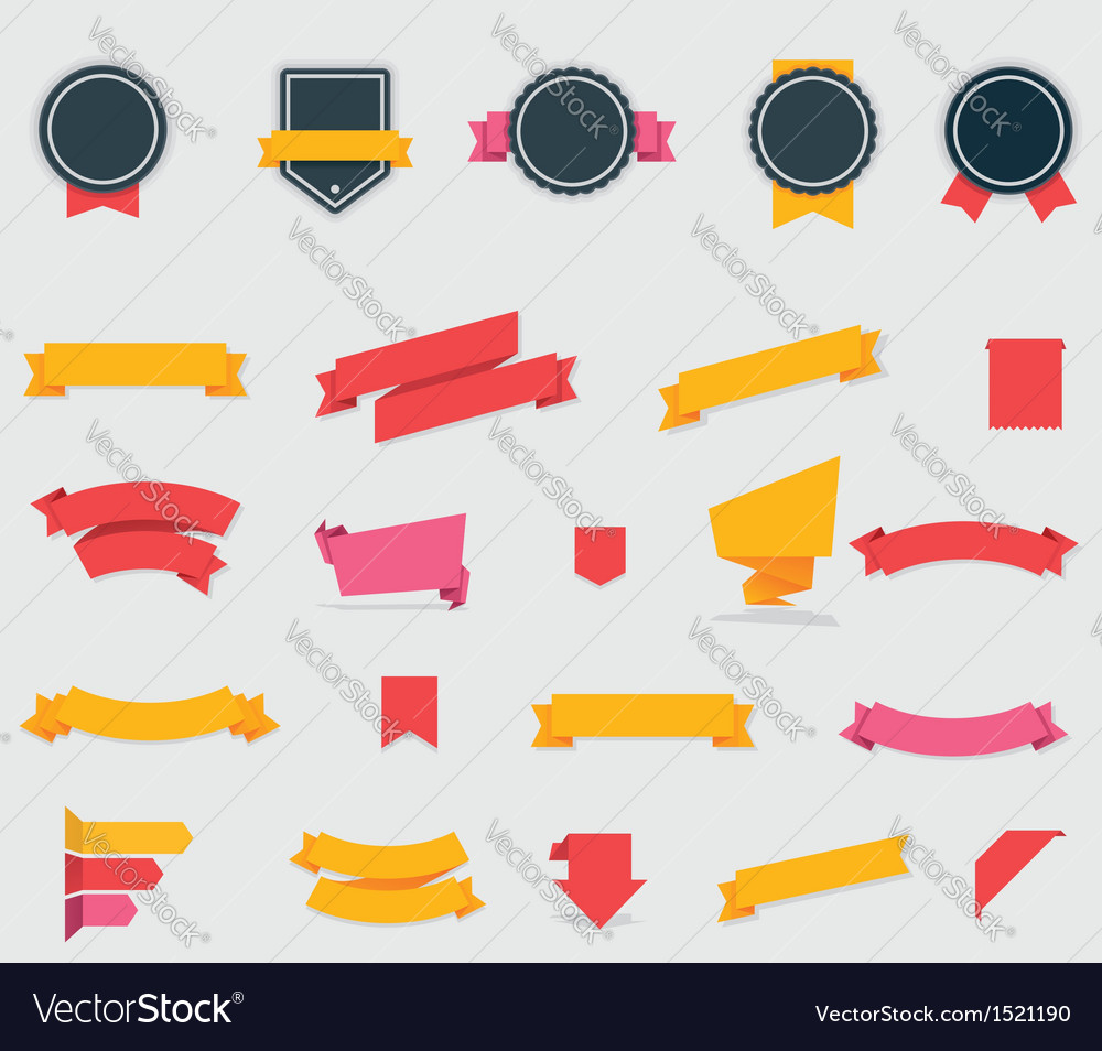 Ribbons and labels vector image