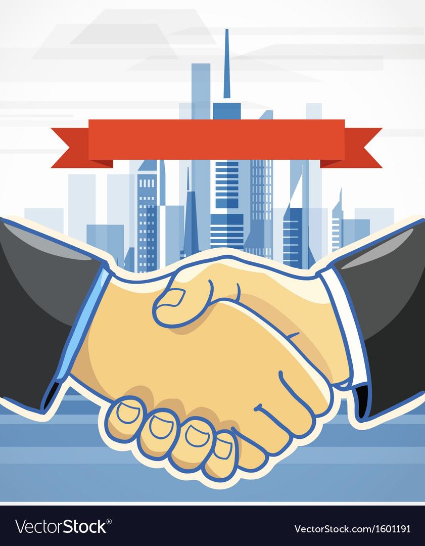 Two men shake hands Presentation template vector image