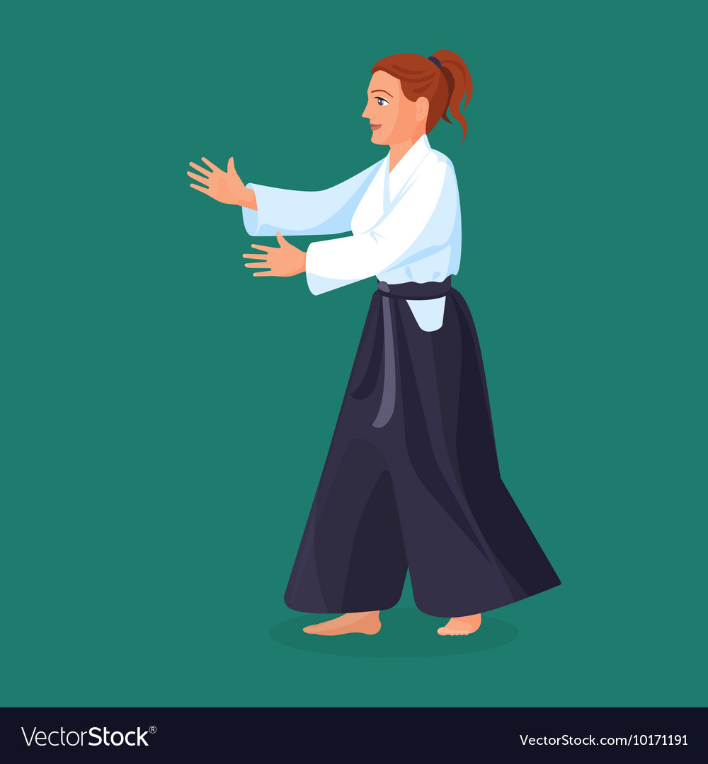 Woman is practicing her defending skills in vector image