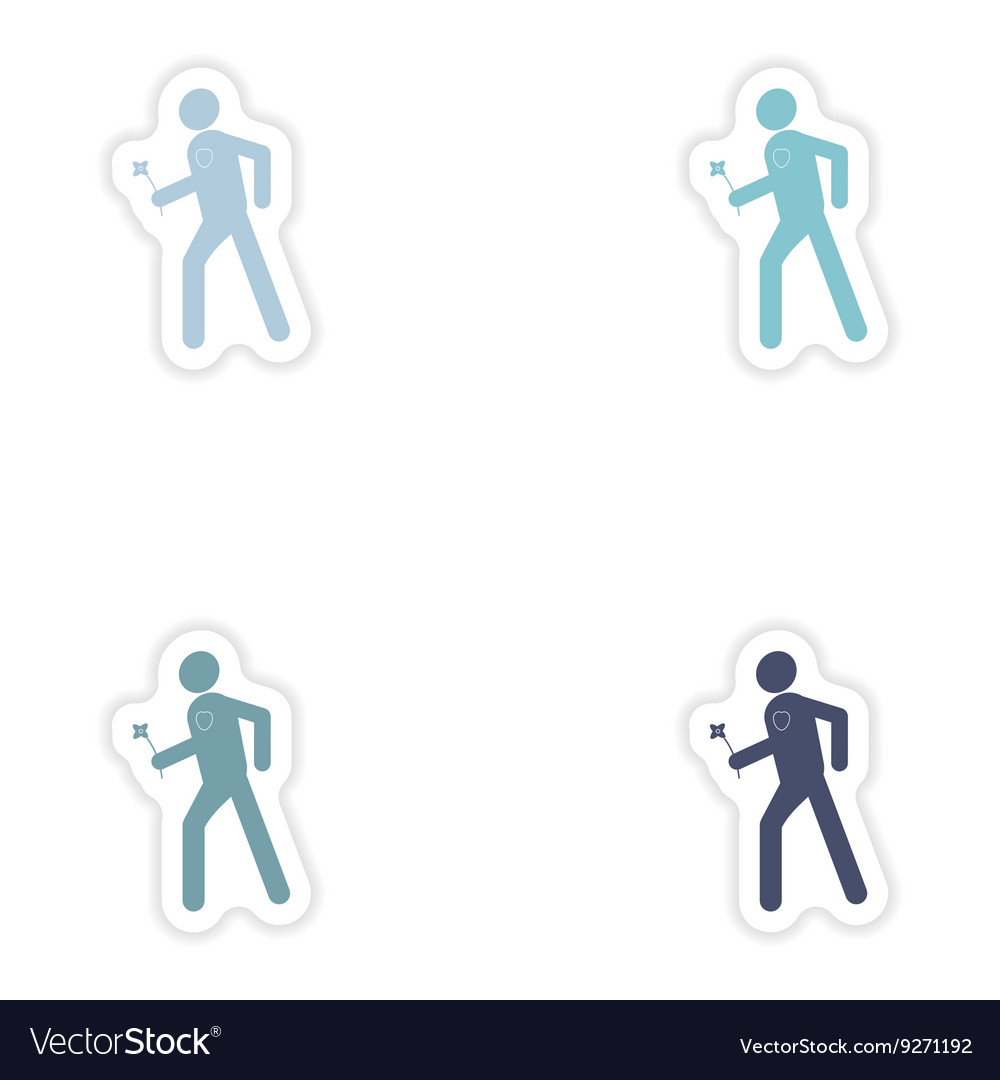 Set of paper stickers on white background man with