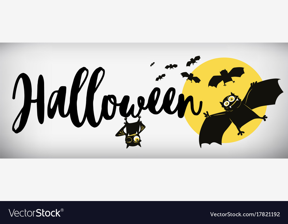 Happy halloween banner comical bat vector image