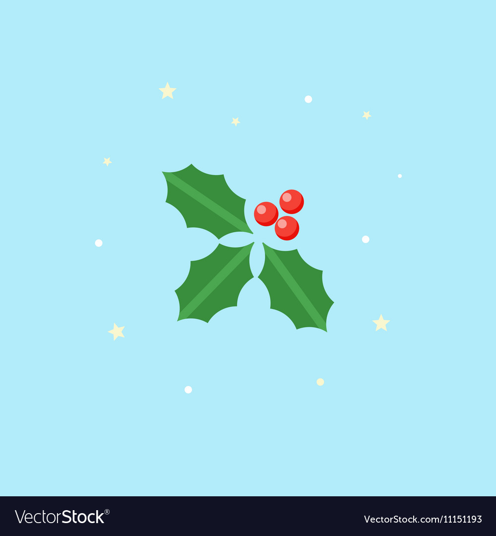 Holly Icon Christmas plant in flat style vector image