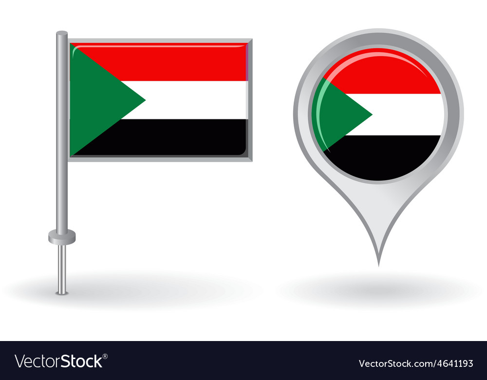 Free Maps And Flags Icons: Sudanese Pin Icon And Map Pointer Flag Royalty Free Vector