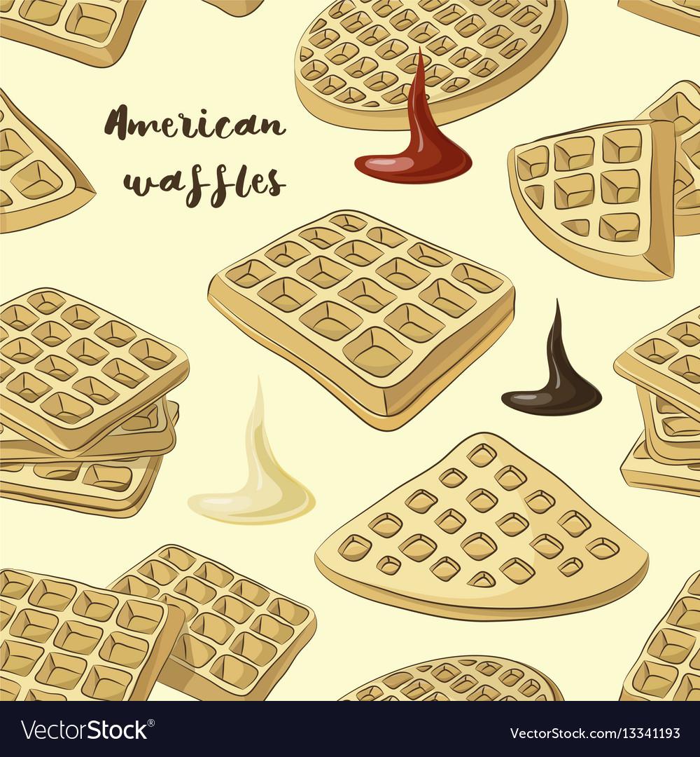Various american waffles pattern vector image