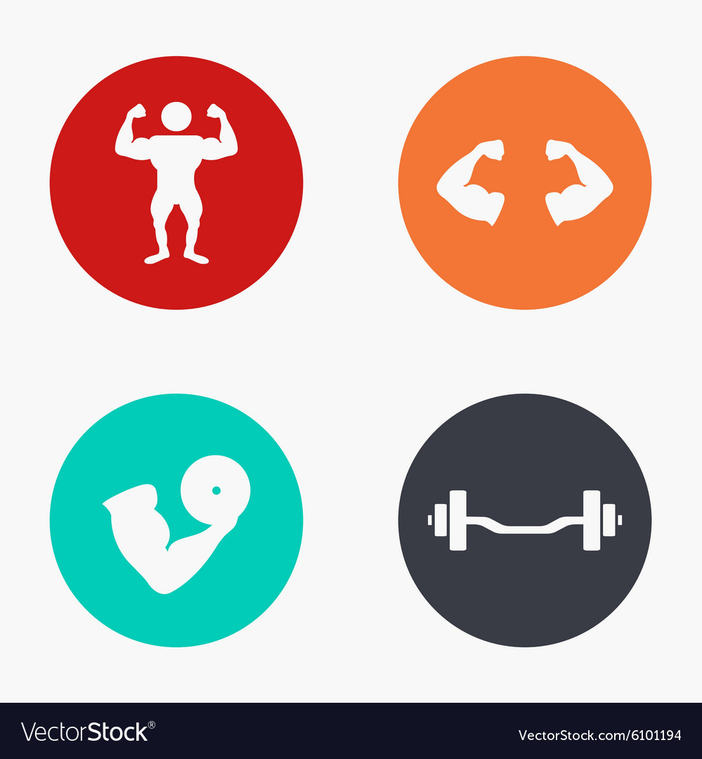Modern sport colorful icons set vector image