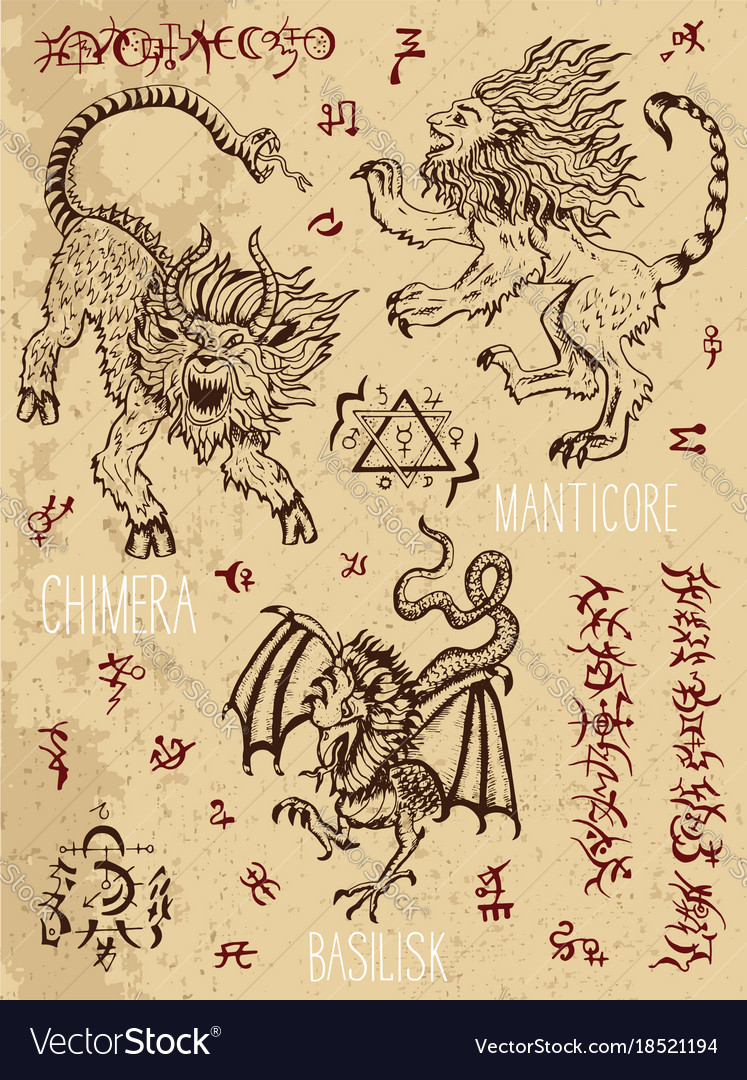 Monsters page with occult and mystic symbols vector image monsters page with occult and mystic symbols vector image biocorpaavc