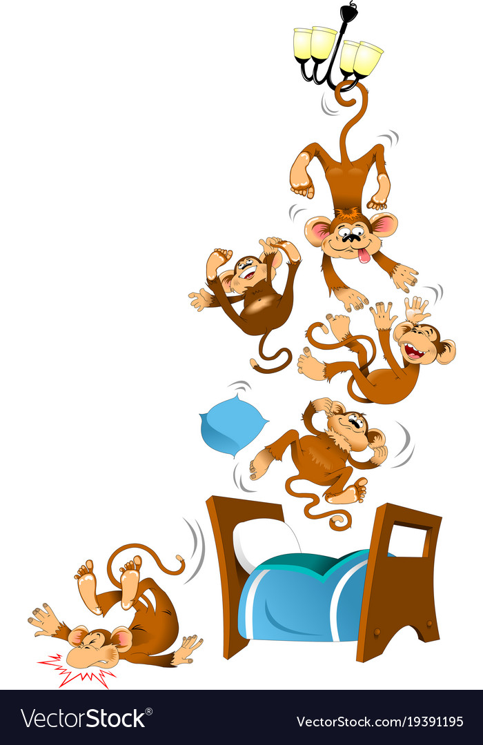 Five monkeys vector image