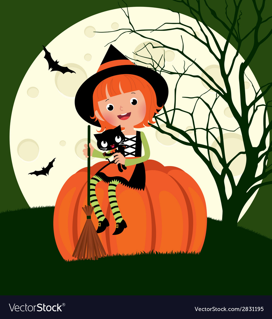 Halloween witch sitting on a pumpkin vector image