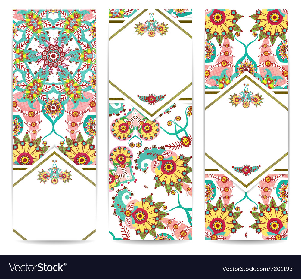 Set of vertical retro banners or backgrounds vector image
