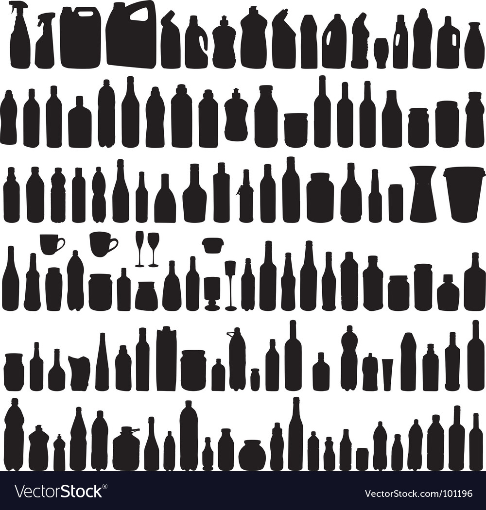 collection of bottle silhouettes vector image