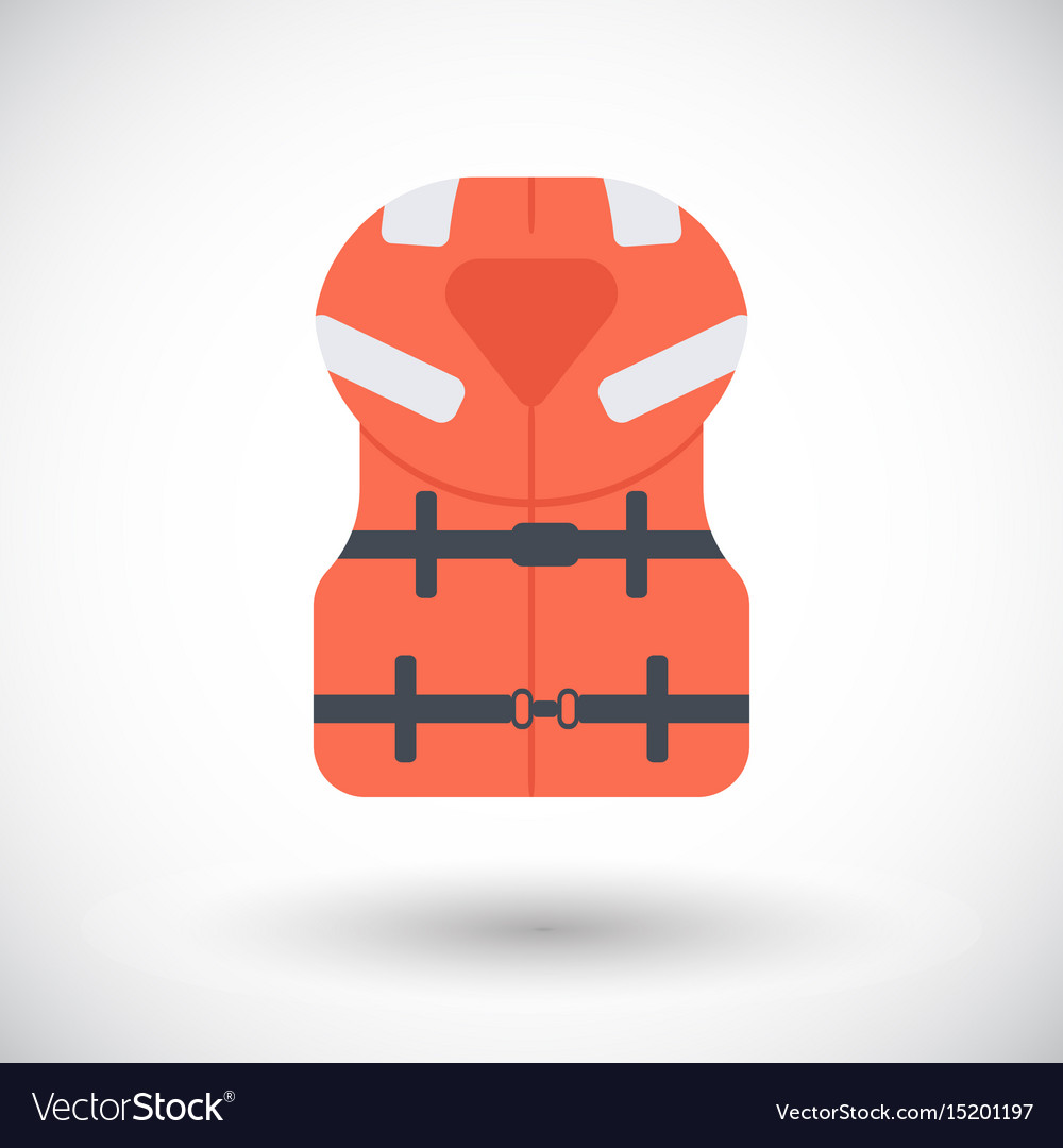 Offshore life jacket flat icon vector image