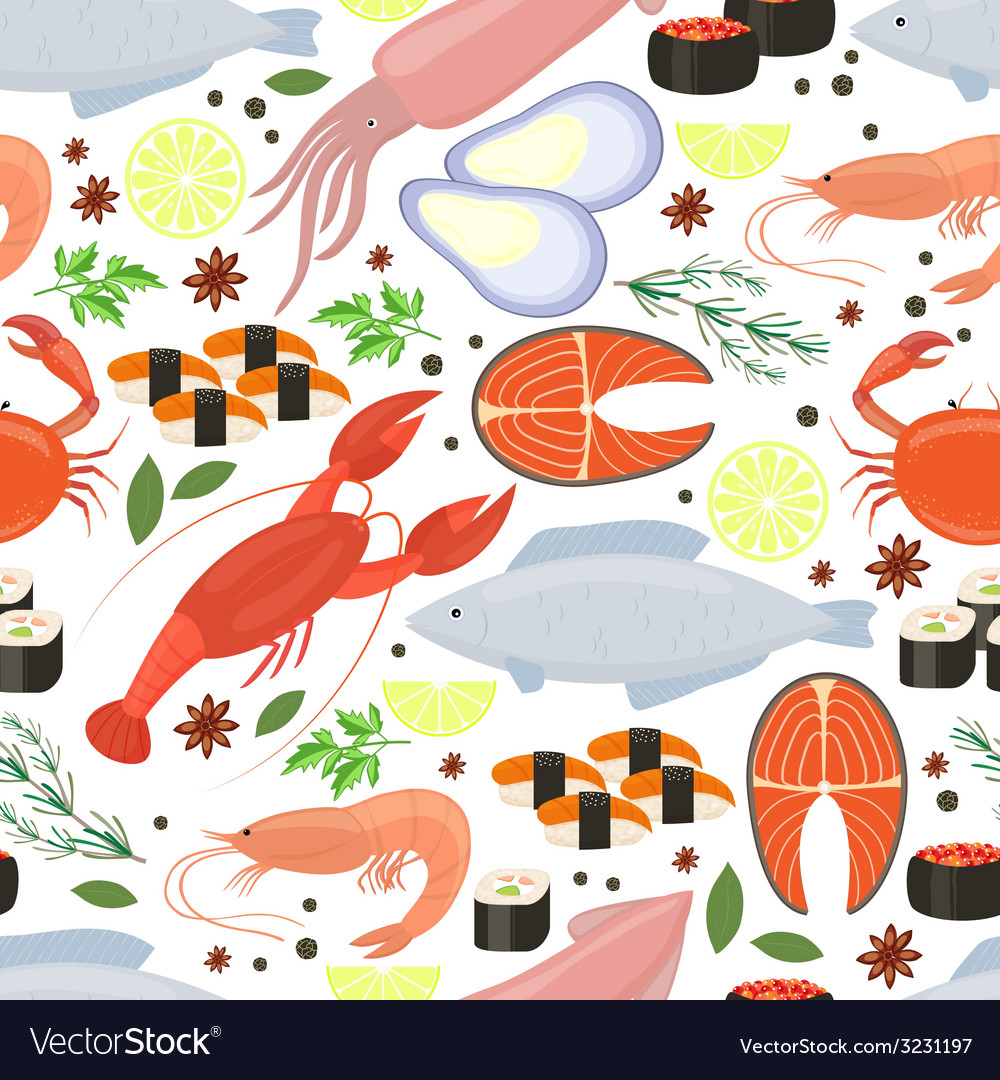Seafood and spices background for restaurant menu vector image