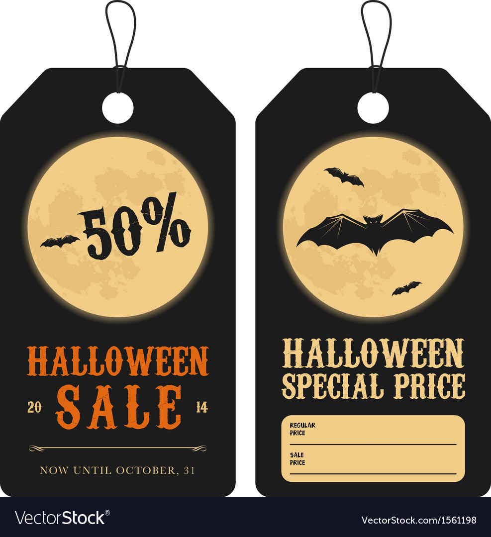 Halloween special sale price tags vector image