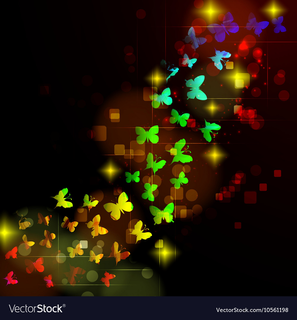 Abstract design with glowing nocturnal butterflies vector image
