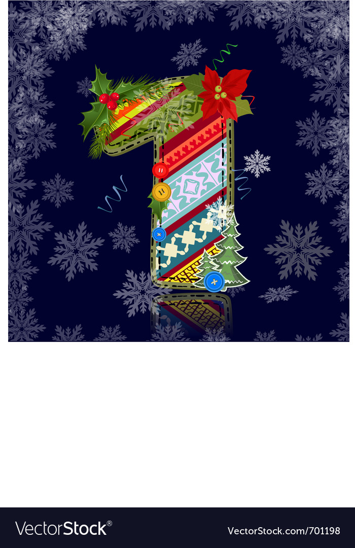 Winter number letter with an ornament vector image