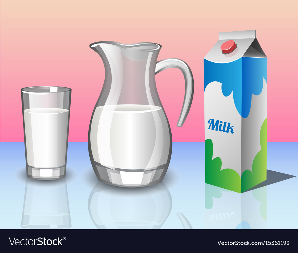 Different set of containers for milk vector image