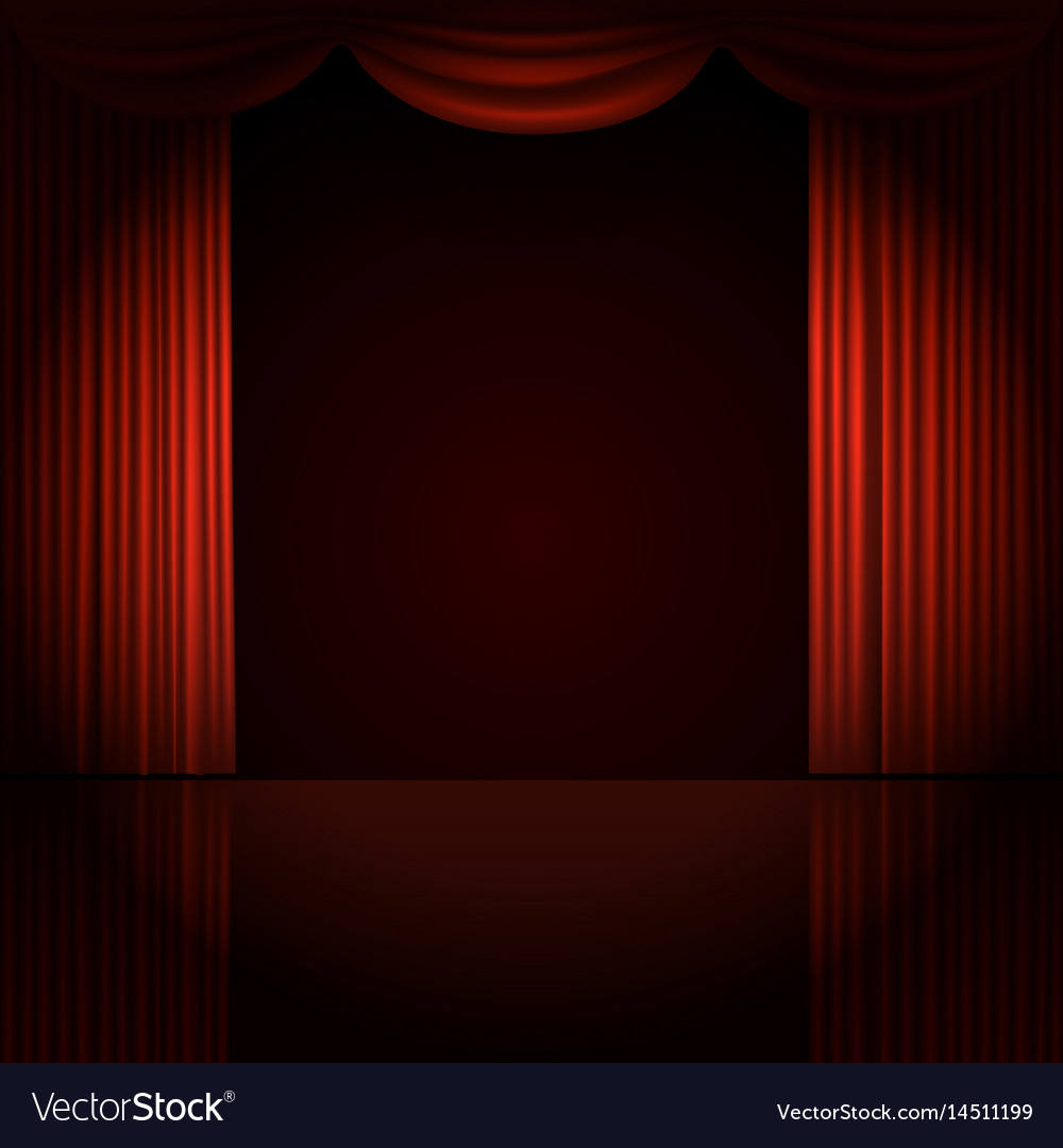 Stage curtains spotlight - Stage Curtains With Spotlight Vector Image