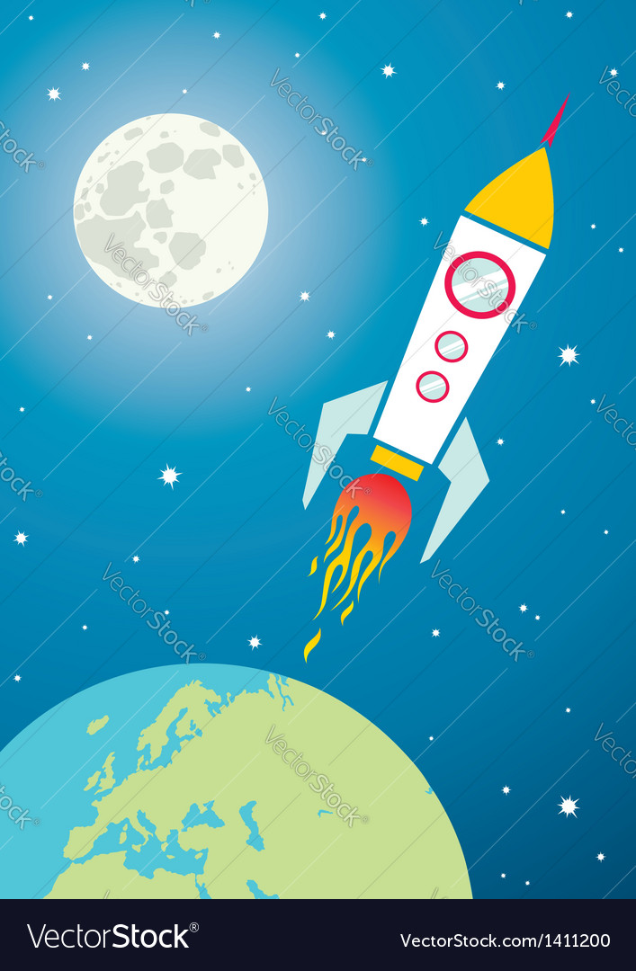 Spacecraft in space vector image