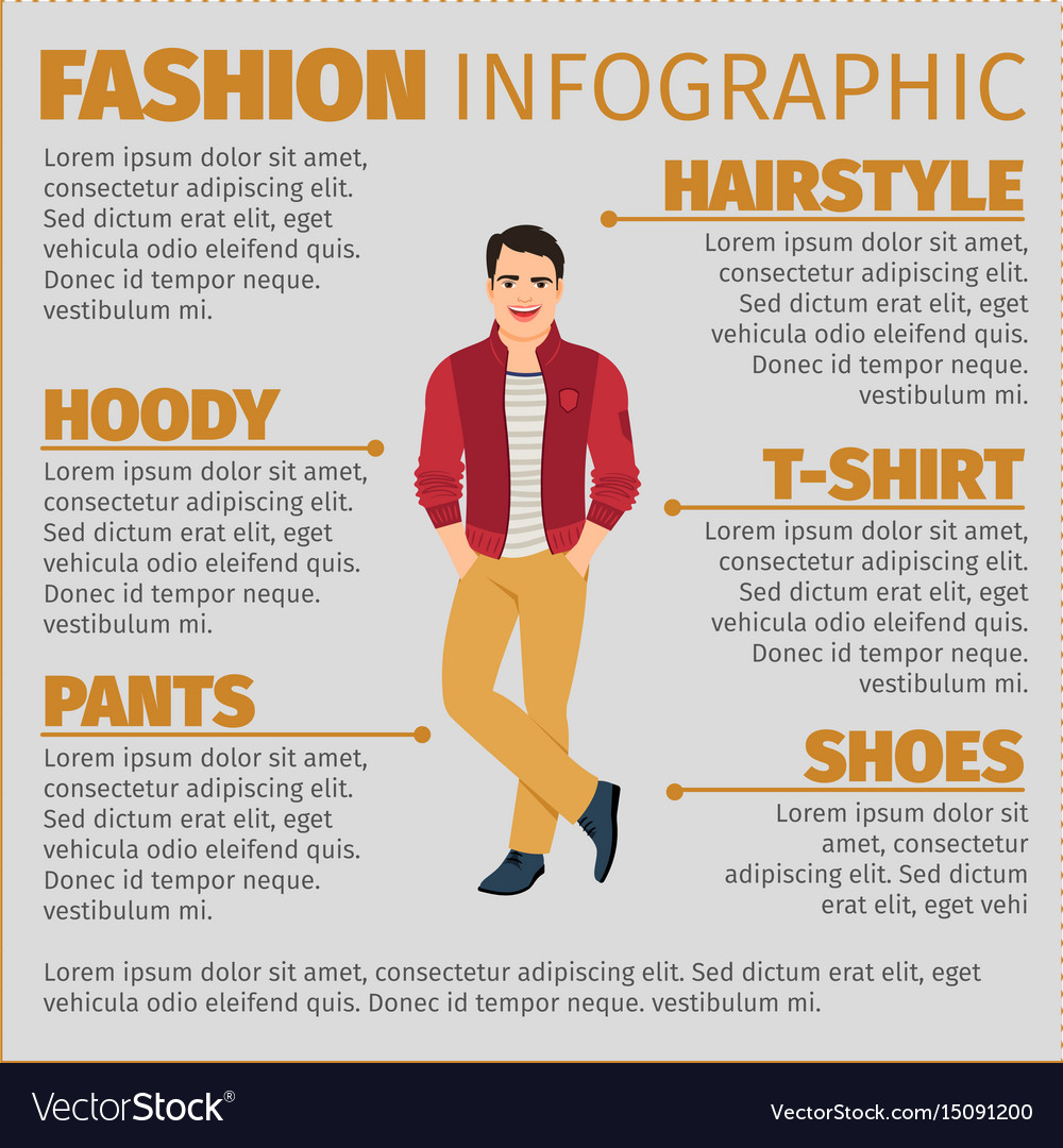 Fashion infographic with happy student vector image