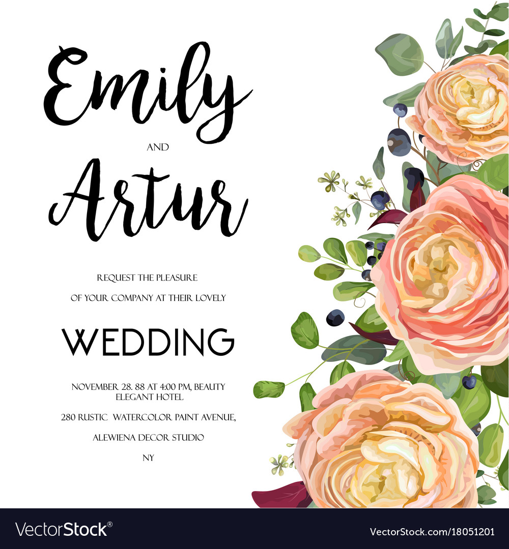 Wedding invitation invite card design with Vector Image