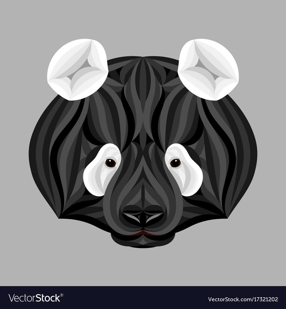Black panda bear picture of panda head in black vector image