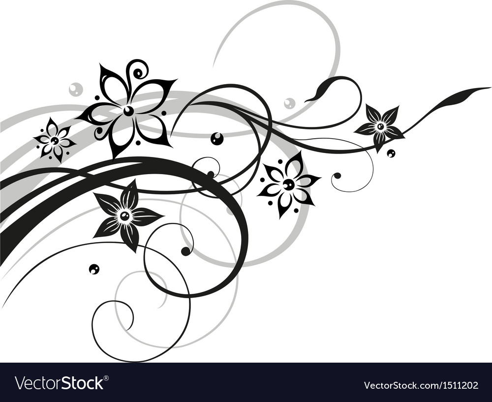 Flower flowers vine black gray vector image