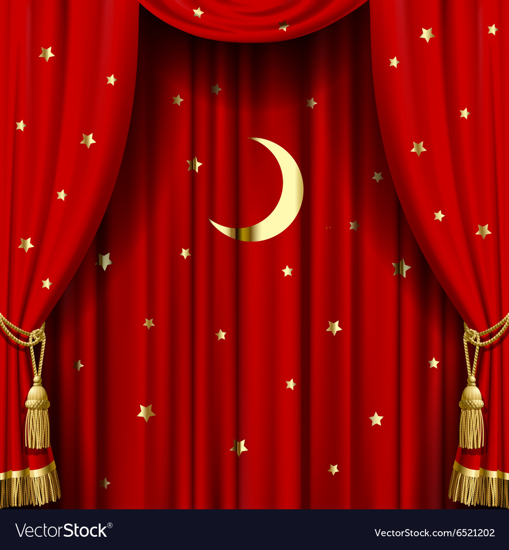Red curtain with gold tassels Royalty Free Vector Image