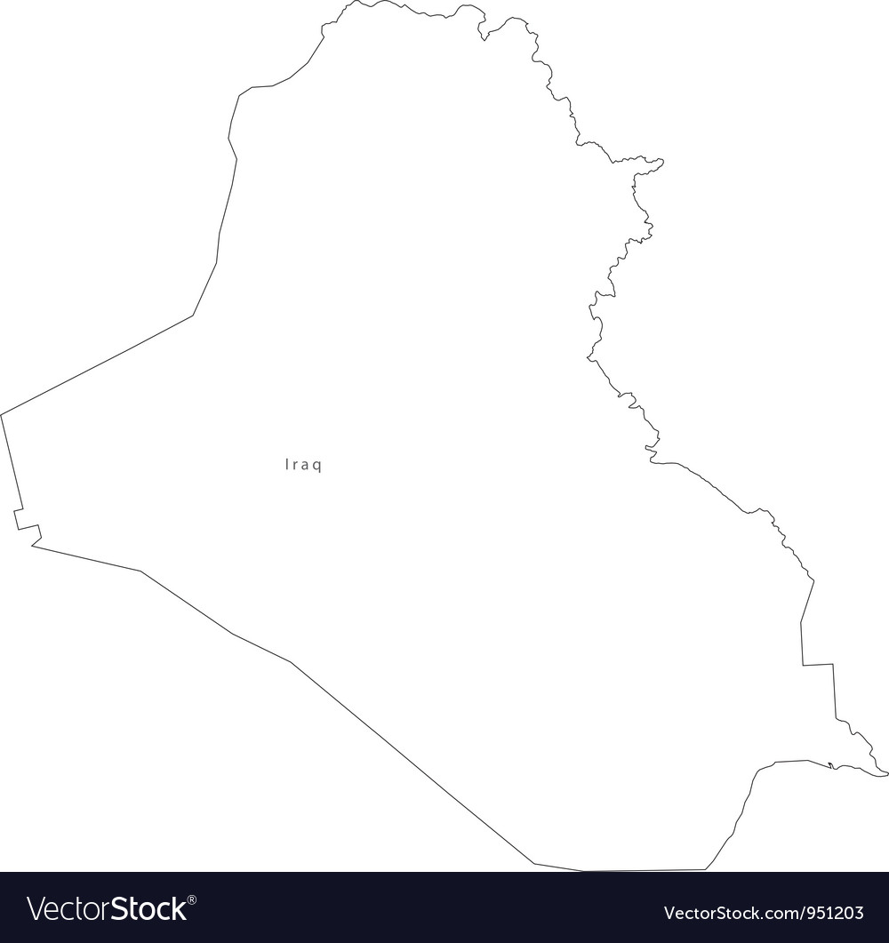 Black White Iraq Outline Map Royalty Free Vector Image - Iraq map outline
