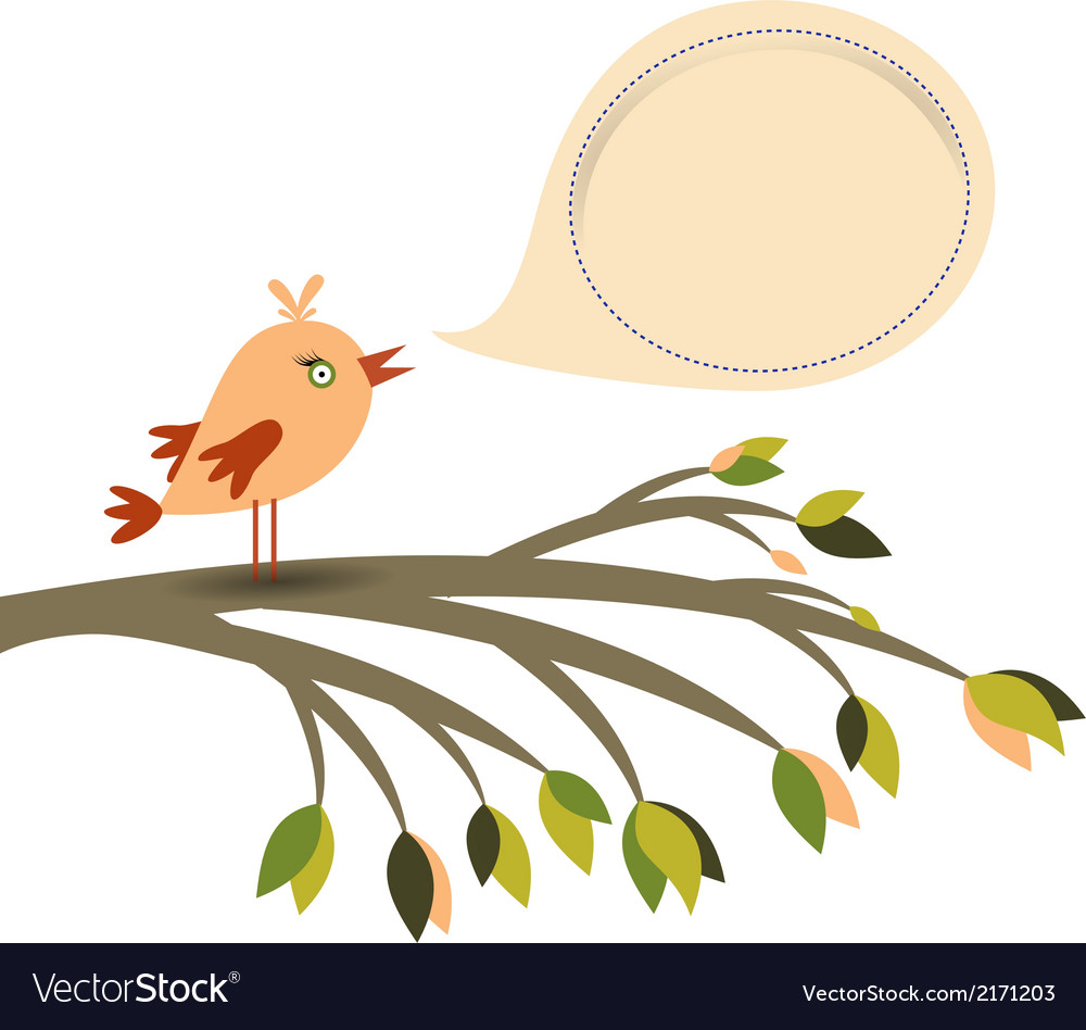 Colored bird and speech bubble vector image