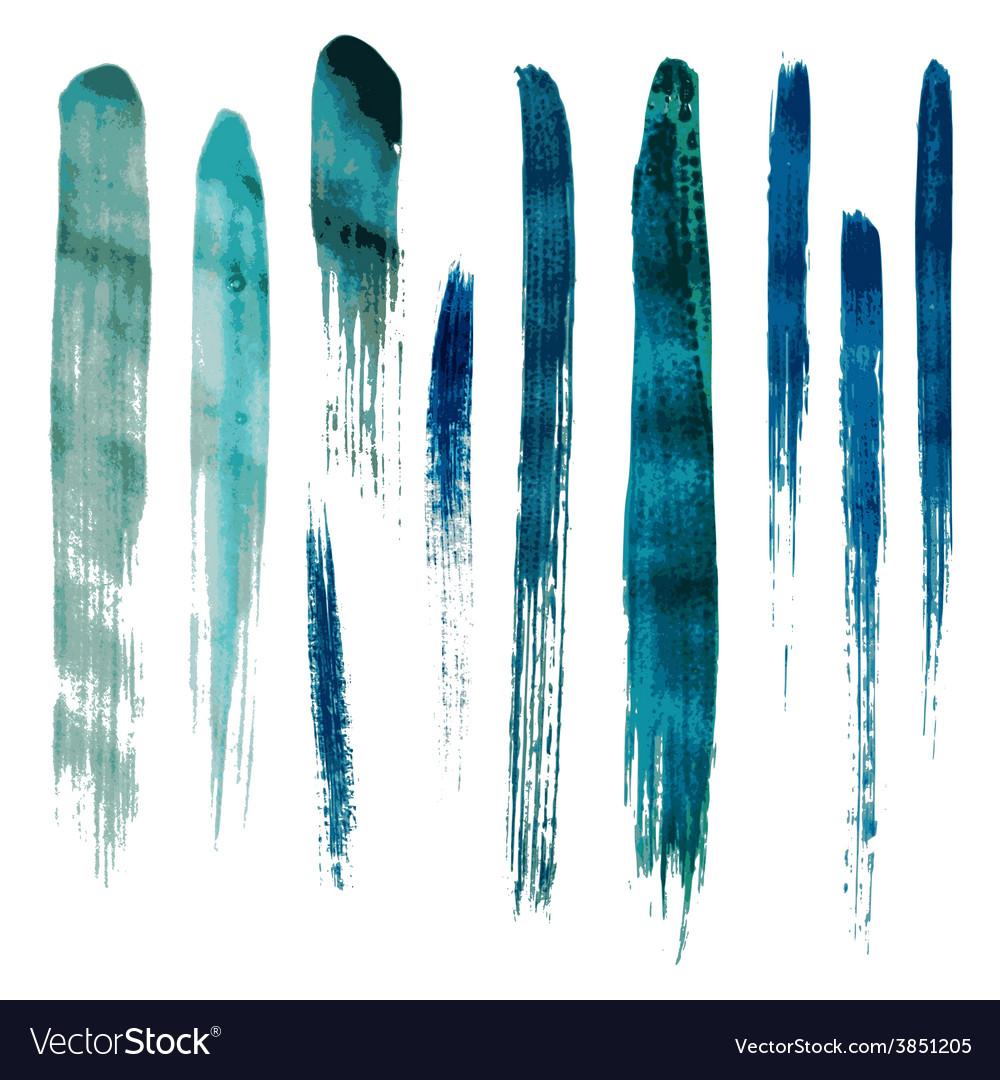 Blue watercolor brush strokes vector image