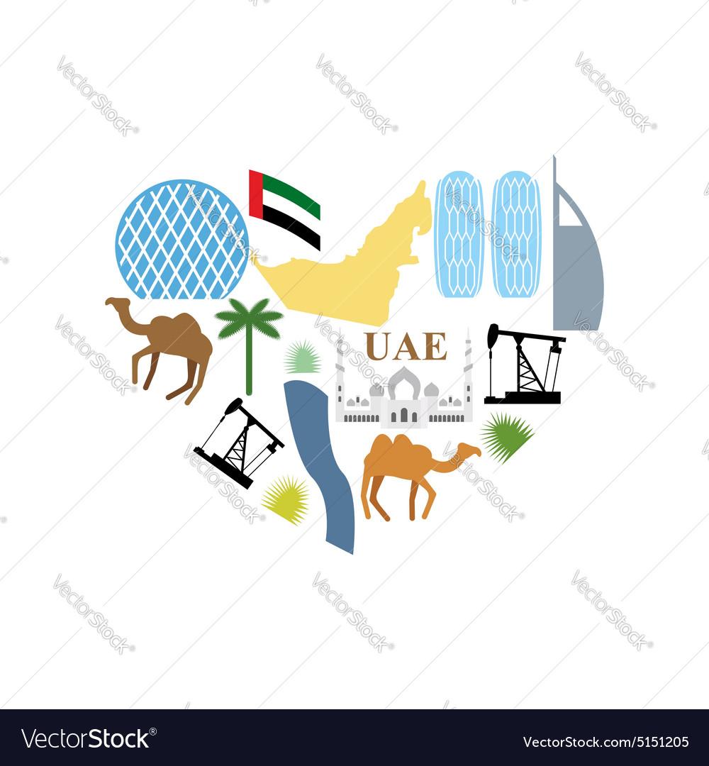 I love uae symbol heart attractions of united arab i love uae symbol heart attractions of united arab vector image biocorpaavc Images