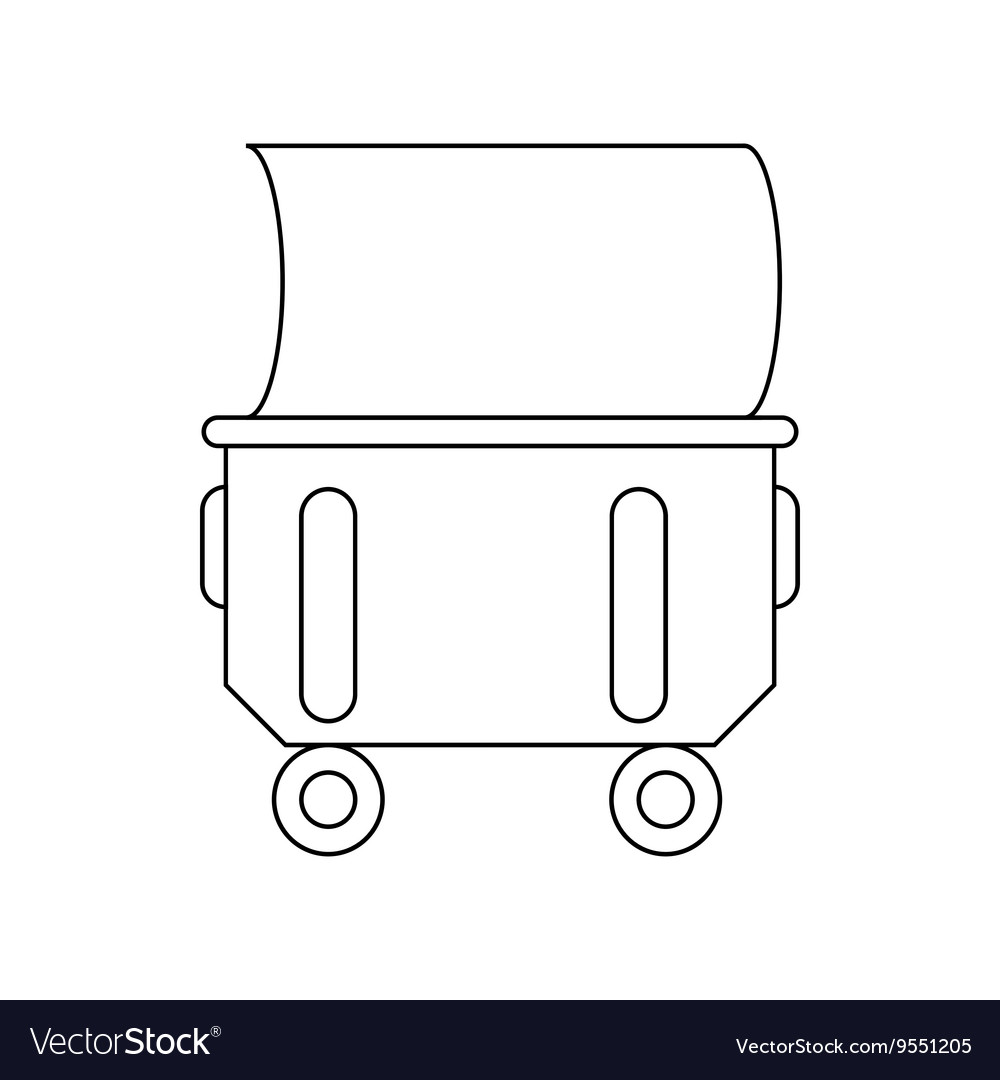 Industrial wheelie bin icon outline style vector image