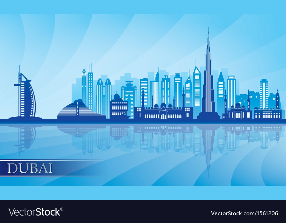 Dubai city skyline detailed silhouette vector image