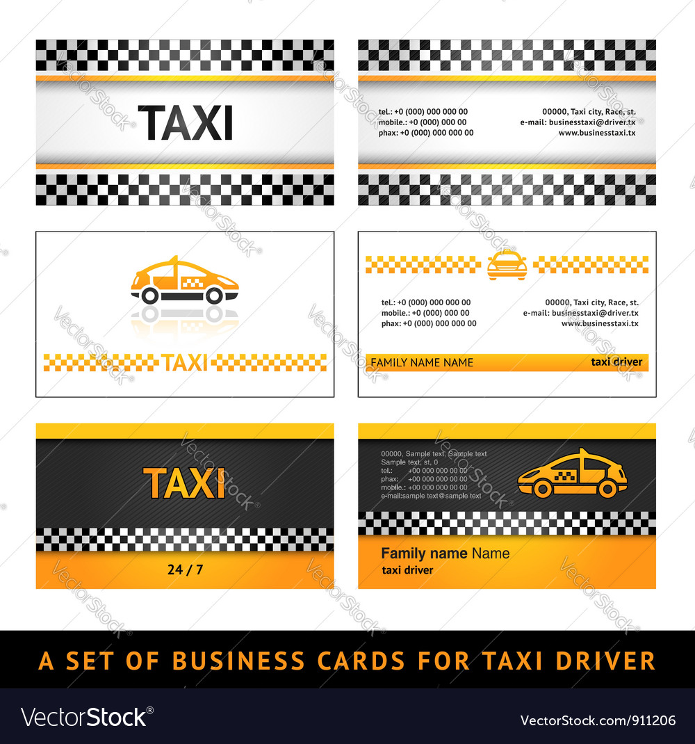 Business card taxi Royalty Free Vector Image - VectorStock