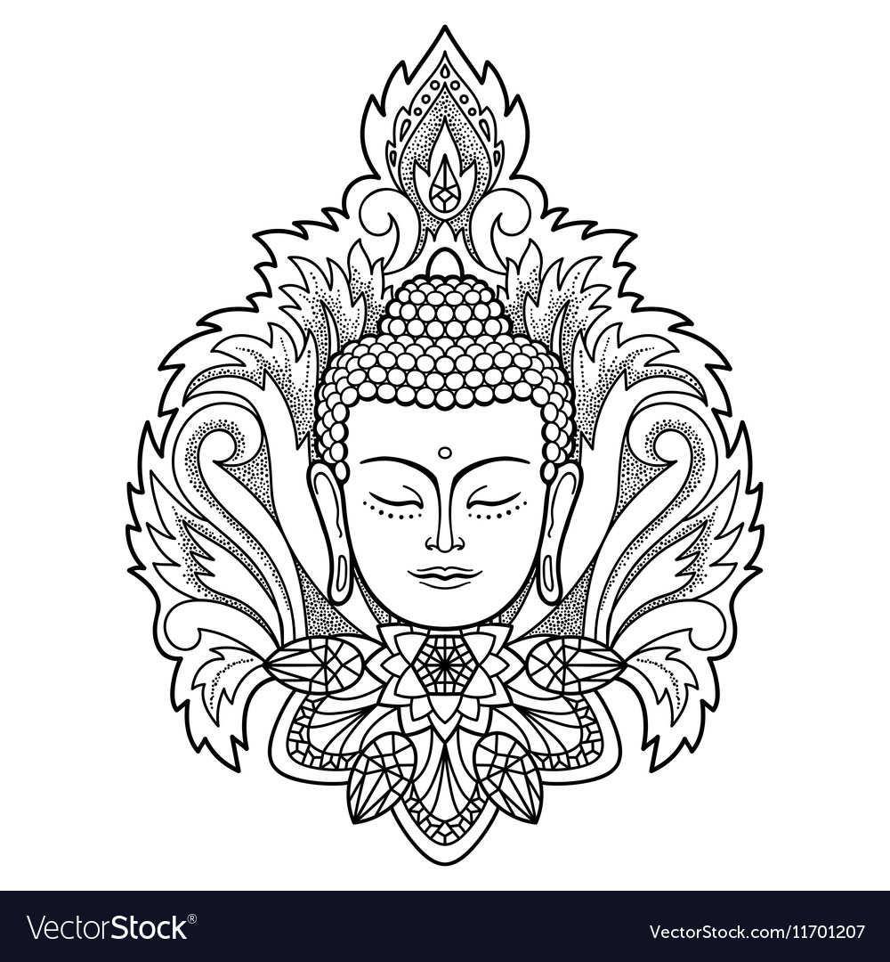 Buddha Head on Floral Background vector image