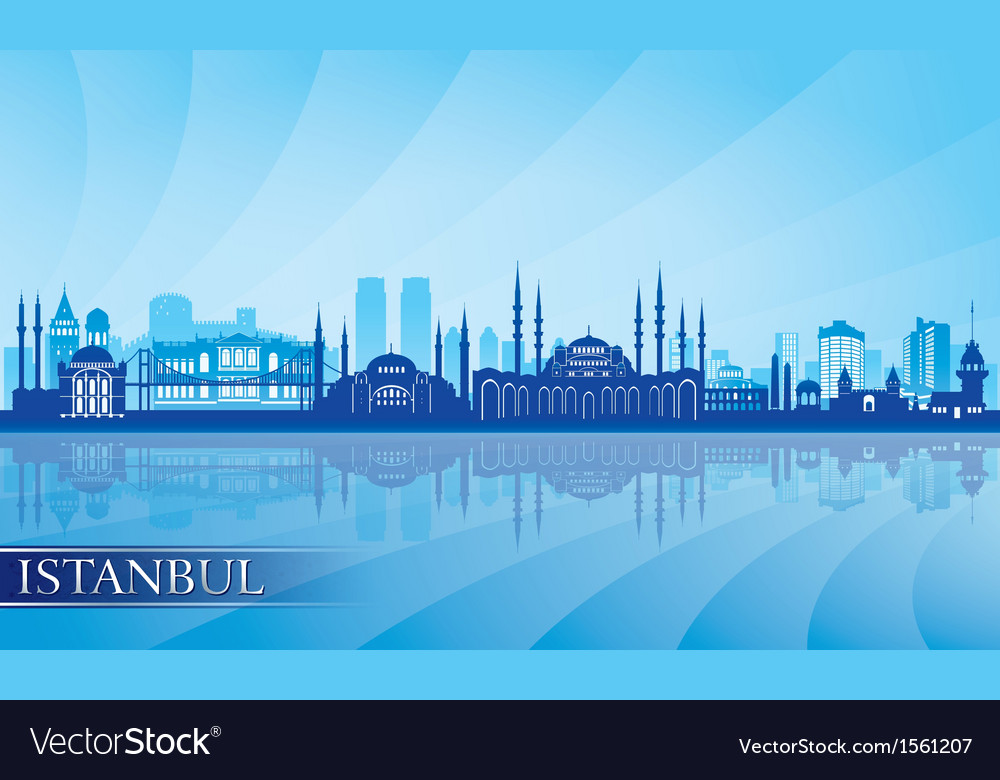 Istanbul Skyline city skyline detailed silhouette vector image