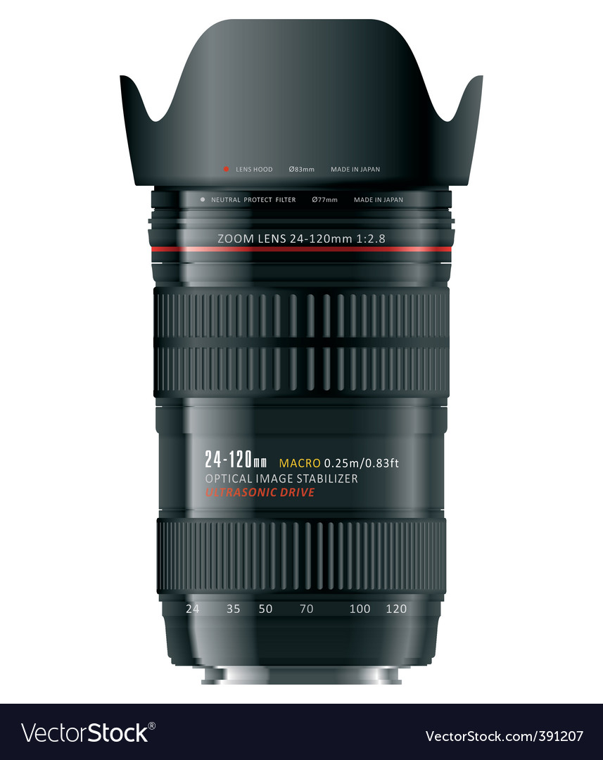 Professional zoom lens vector image