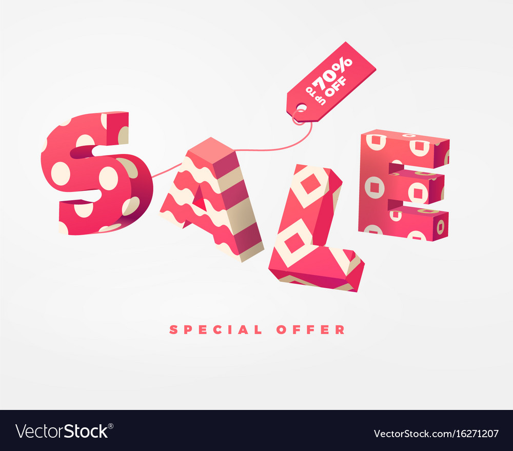 Sale 3d sign pink on white vector image