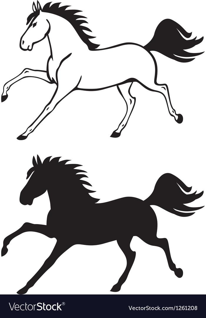 Horse contour vector image