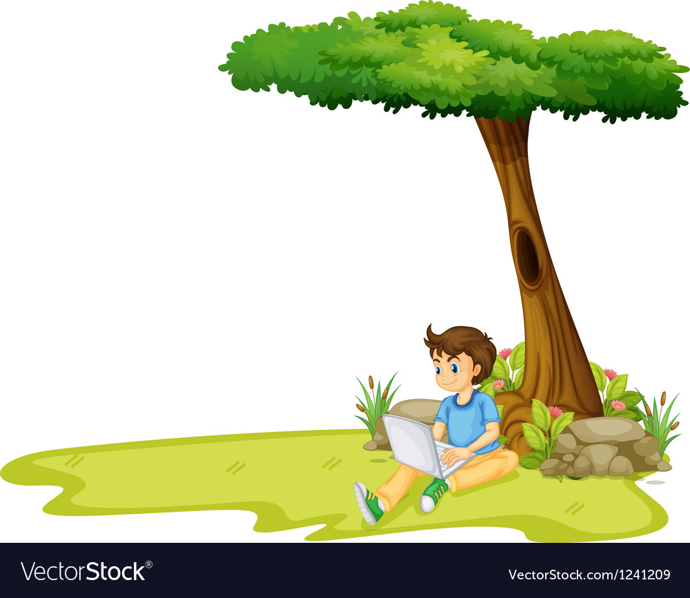 A boy using his laptop under a tree vector image