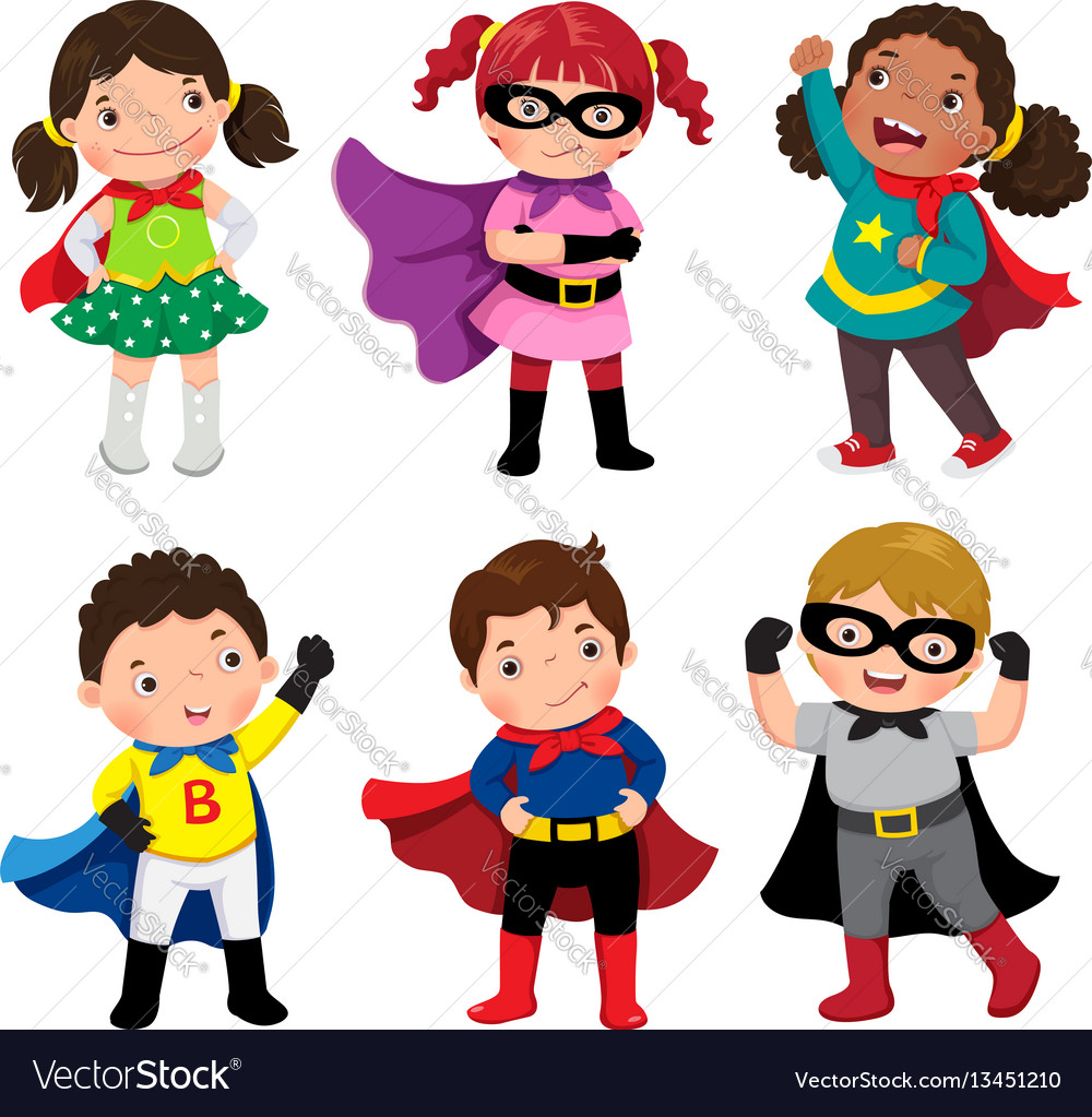 Boys and girls in superhero costumes on white vector image