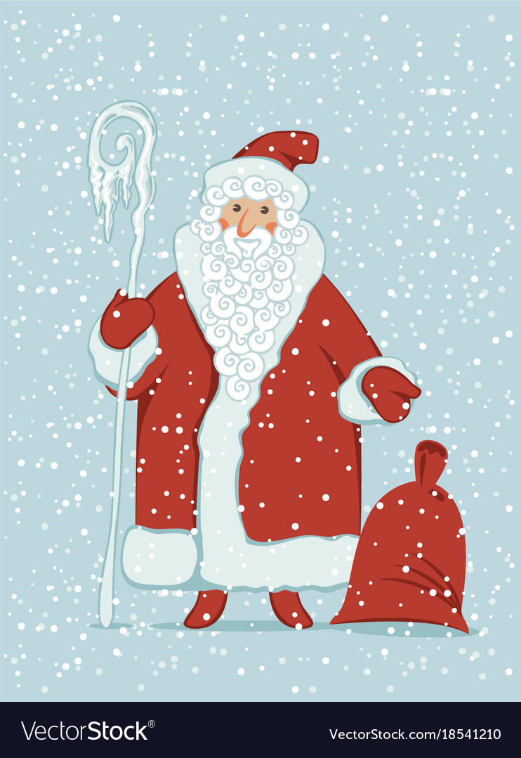 Cartoon santa claus with magic staff and gift bag vector image m4hsunfo Images