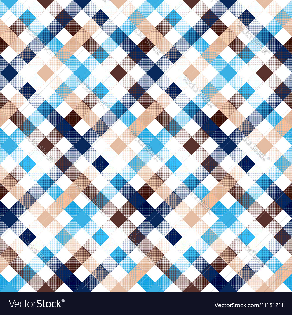 Blue beige diagonal check shirt seamless fabric vector image